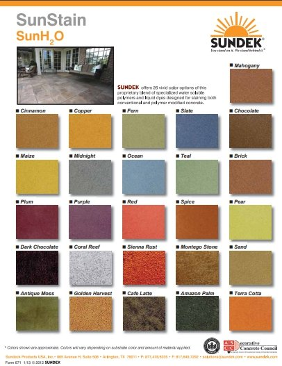 water based stain color list
