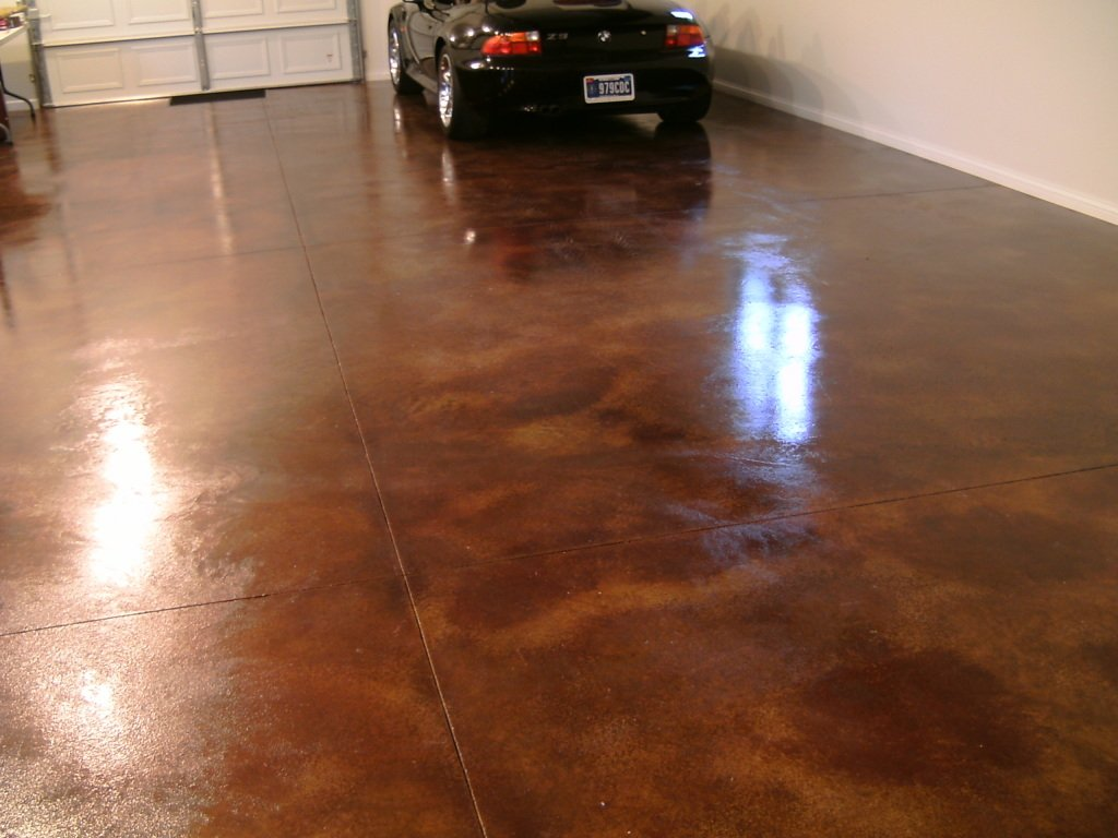 brown stained garage floor
