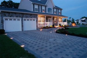 LED lighting concrete driveway