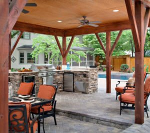 pool deck outdoor kitchen